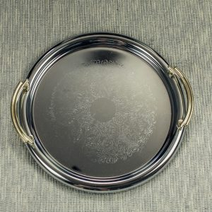 Round Serving Tray with Gold Handle