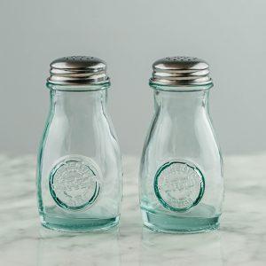 Set of Retro Glass Salt and Pepper Shakers (4oz)