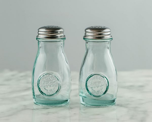 Set of Retro Glass Salt and Pepper Shakers (4oz)