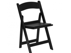 Black Folding Chair With Padded Seat
