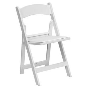 white folding chair with padded seat 300
