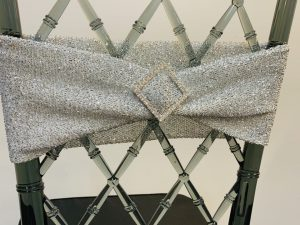 Glittered Spandex Chair Sashes with  Silver Diamond Pin